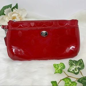 COACH red patent leather wristlet clutch C logo